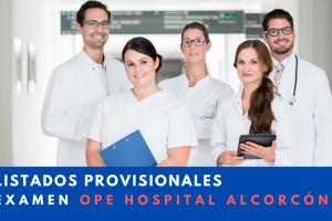 Listados provisionales examen ope Hospital de Alcorcón
