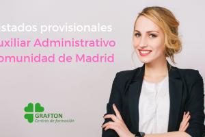 listado provisionales Auxiliar Administrativo Comunidad de Madrid
