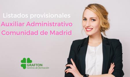 Listados provisionales Auxiliares Administrativos Comunidad de Madrid