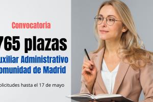 convocatoria 765 plazas para Auxiliar Administrativo CAM (2)