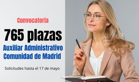 Convocatoria 765 plazas Auxiliar Administrativo Comunidad de Madrid