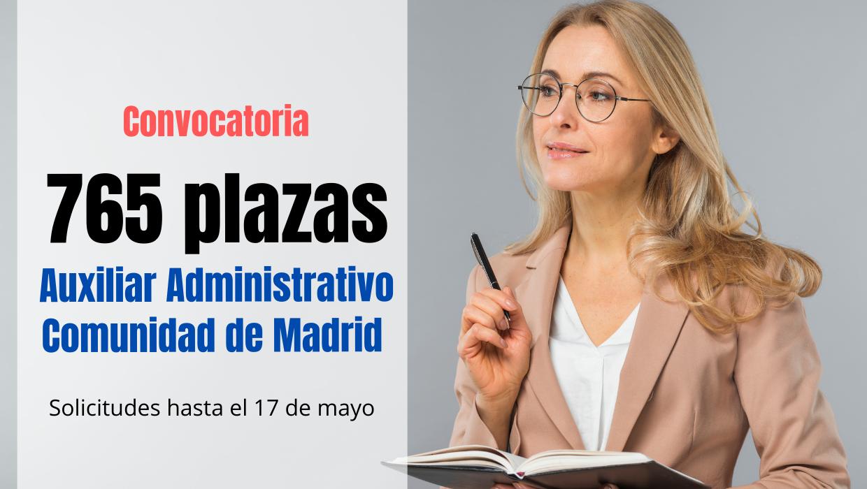 Convocadas 765 plazas para Auxiliar Administrativo CAM