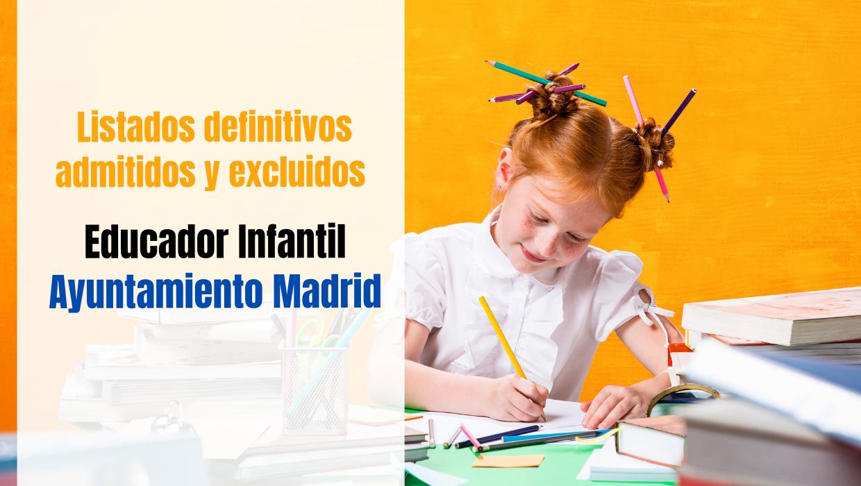 Listados definitivos Educador Infantil Madrid