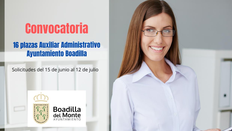 Convocadas 26 plazas de Auxiliar Administrativo para el Ayuntamiento de Boadilla