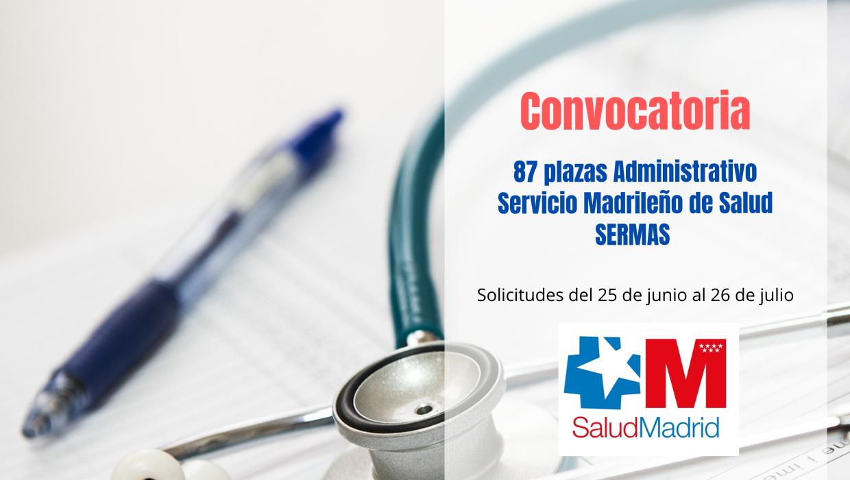 Convocatoria Oposición Administrativo SERMAS 2021