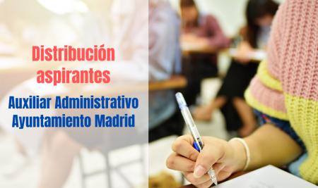 Distribución de aspirantes Auxiliar Administrativo Ayuntamiento de Madrid