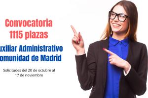Convocatoria 1115 plazas Auxiliar Administrativo comunidad de Madrid