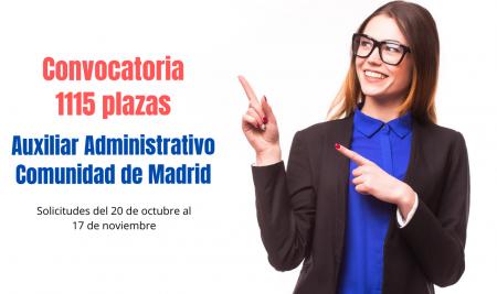Convocatoria 1115 plazas Auxiliar Administrativo Comunidad de Madrid Estabilización