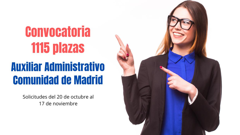1115 plazas oposición Auxiliar Administrativo CAM