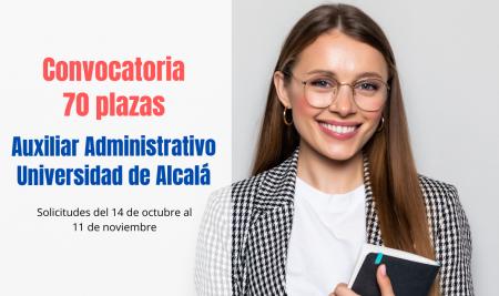 Convocadas 70 plazas de Auxiliar Administrativo para la Universidad de Alcalá