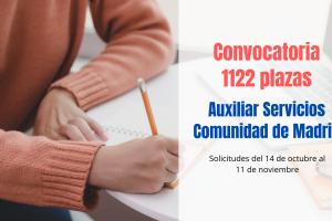 convocatoria 1122 plazas Auxiliar Servicios Comunidad de Madrid