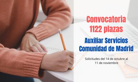 Convocadas 1122 plazas Auxiliar de Servicios de Comunidad de Madrid