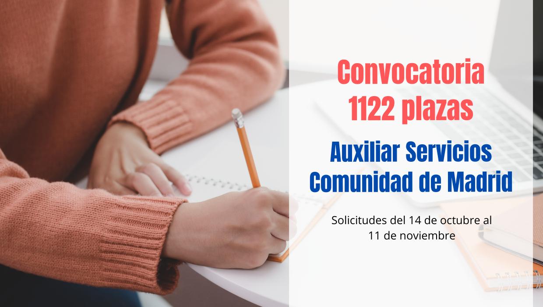 1122 plazas Auxiliar Servicios Comunidad de Madrid